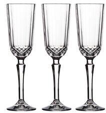 Set of 3 Retro Look Champagne Flutes Wine Glasses