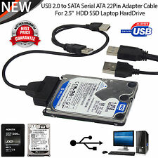 "USB to SATA 2.5"" 15+7 Pin Hard Disk Drive Cable Adapter Connector for Laptop PC"