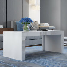 White Modern Coffee Table High Gloss And Matt Top Rectangle Tea End Living Room