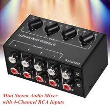 Mini-Stereo-Audiomischer 4-Kanal-Cinch-Eingänge Mischpult Lautstärkeregler T9C1