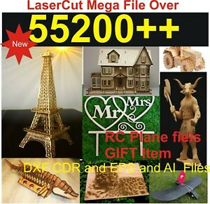 55200+ Lasercut CNC Plasma Collections CRD Ai DXF EPS files  RC plane as Gift