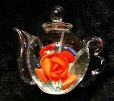 Hand Blown Glass Teapot Paperweight With Red Rose