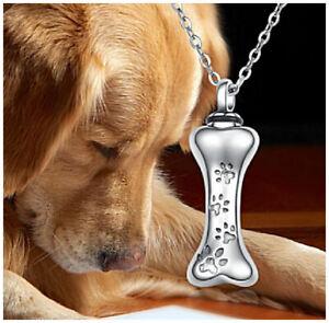 "Mini Dog Bone Cremation Jewellery Ashes Urn Pendant Necklace w 18"" Silver Chain"