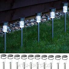 Set of 10 Stainless Steel Solar Garden Lights Light Set Path Flower Bed NF