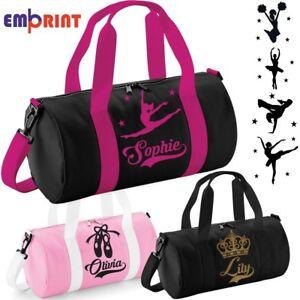 Personalised Barrel Dance Bag Girls Glitter Kids School Gymnastics Ballet