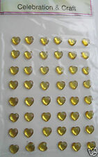 48 GOLD Self Adhesive Hearts cardmaking Wedding favours Heart Favour Box Sticker
