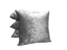 4 X Silver Steel Grey Crushed Velvet Cushions Filled 22""