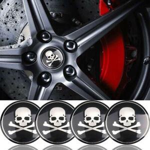 4x Black Cross Bone Skull Logo Car Wheel Hub Center Cover Stickers Accessories