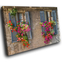 SC511 Retro Colourful Flowers Landscape Canvas Wall Art Large Picture Prints