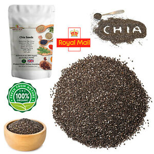 100% Pure Organic Chia Seeds Weight Loss Whole Diet Raw Spices & Herbs 500g P&P