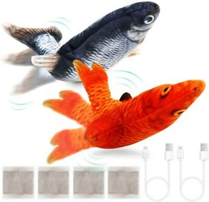 2 Flapping Realistic Cat Flopping Fish Toys Dancing Fish Catnip Toys for Cats