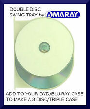 AMARAY double Blu-Ray/DVD case CLEAR SWING TRAY (holds 2 discs) - NEW