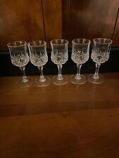 Set of 5 Gorgeous Vintage Pressed Glass Cordial Dessert Liqueur Stemmed Glasses