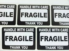 500 2x3 FRAGILE Black Self Adhesive Handle with Care Stickers Shipping Labels