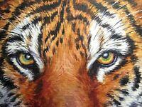 Watercolor Painting Tiger Eyes Face Big Cat Wild Animals ACEO Art