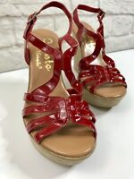 Callisto of California Women's Red Patent Leather Wedge Sandal Womens Size 7