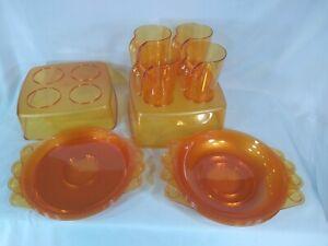 14 Piece 4 Person Polycarbonate Picnic Serving Dishware Set - Orange - Excellent
