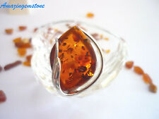Amber 925 Sterling Silver Ring 064Rg Adjustable Gorgerous Cognac Baltic