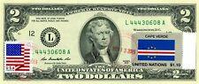 $2 DOLLARS 2013 STAMP CANCEL POSTAL FLAG FROM CAPE VERDE LUCKY MONEY VALUE $150