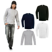 B&C Collection Open Hem Sweatshirt WU610 - Mens Cotton Sport Black Grey Jumper