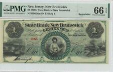 1860s $1 State Bank New Brunswick NJ PMG 66 Gem Unc EPQ Remainder