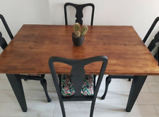 Rustic Industrial farmhouse dining table & 4 boho chairs.