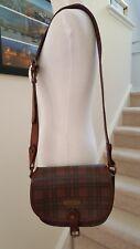 Polo Ralph Lauren Coatede Canvas Leather Trim Check Plaid Shoulder Bag 05cc80f1baabc