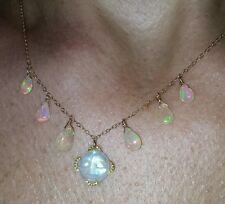 Rainbow Moonstone carved face man in the moon and Opal necklace solid 14k gold