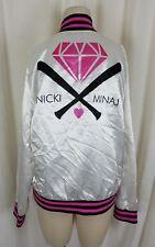 Nicki Minaj Hot Topic Silky Satin Bomber Baseball Jacket Womens M Pink Rap Logo