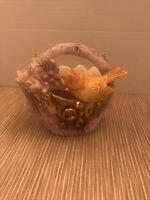 Vintage Ceramic Lavender And Gold Basket Planter With Yellow Bird 5""
