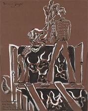 BERNARD HELIN HENRI DAYDE Painting MEN ON CATTLE TRUCK 1946 POSS THEATRE DESIGN
