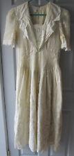 St. Simon Off White Short Sleeve Dress (Size M?) Open Weave Lace Edged