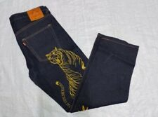 MENS EVISU JEANS Embroidered golden tiger denim calico blue arts sizes 40 inches