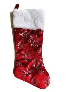 17 In Red Velvet Silver Snowflakes Christmas Stocking