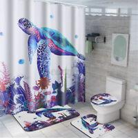 71in Sea Turtle Bathroom Shower Curtain Waterproof Bath Floor Mat Toilet Cover
