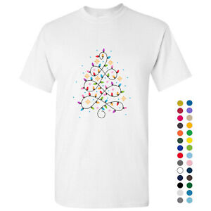 Abstract Christmas Tree Lights Decorations Art White Men T Shirt Tee Top S - 5XL