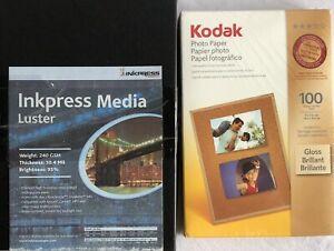 Kodak 100 4 x 6 in and Impress Media Luster 6 x 4 in Photo Paper NEW