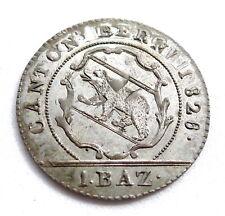 More details for swiss cantons- bern 1 batzen 1826 overstruck on 1798 4 kreuzer host. ef+ rare.