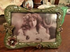 Crystal Jeweled Green Enamel Butterfly Flowers Picture Frame 4 x 6 Bling