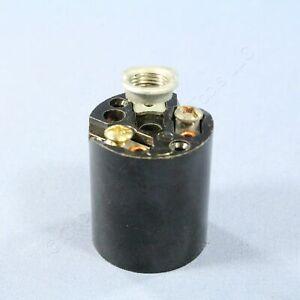 New Leviton Black Phenolic Lampholder Light Socket Hickey E26 Medium Base 3352-8