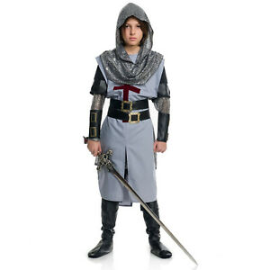 Boys Medieval Knight Halloween Costume Shirt Tunic Chainmail Hood Arm Guards