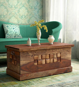 Antqiue Woodway Solid Wood Trunk Table Box in Rustic Teak Home Decor