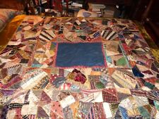 Crazy Quilt Hand Tied Antique Victorian Vermont Estate Amazing Rare Embroidery