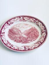 HOMER LAUGHLIN CURRIER & IVES Red White Oval Serving Platter Harper's Ferry Vntg