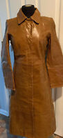 Vtg GAP Leather Women's Trench Coat Jacket Brown Size S
