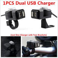 Motorcycle Handlebar 12V Waterproof Switch Dual USB Phone Charger + 2PCS Bracket