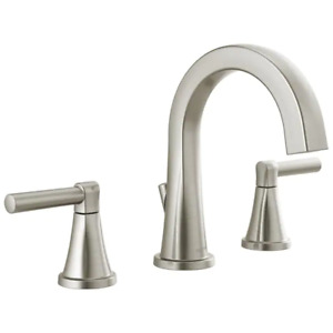 Delta Becker Brushed Nickel 2-Handle Widespread Bathroom Sink Faucet w/ Drain