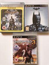 Ps3 Game Bundle -Batman Arkham Asylum + Batman Arkham Origins + Uncharted 3 -287