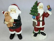 Christmas Santa, holding Tree and Teddy Xmas Decoration. Gift Ornament -Set of 2