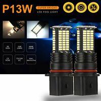 2Pcs P13W LED Fog Light Bulbs DRL 3200 Lumens Super Bright 84-SMD 12V 24V P I4I3
